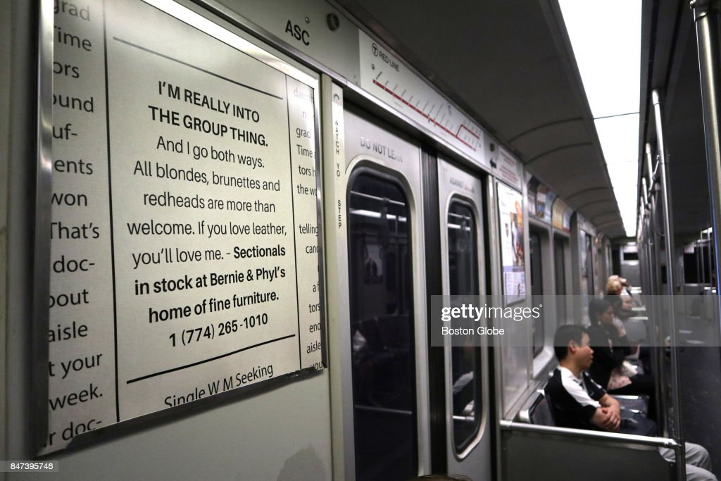 An Advertisement For Bernie U0026 Phylu0027s Furniture Mimicking A Personal Ad Is  Pictured On An MBTA