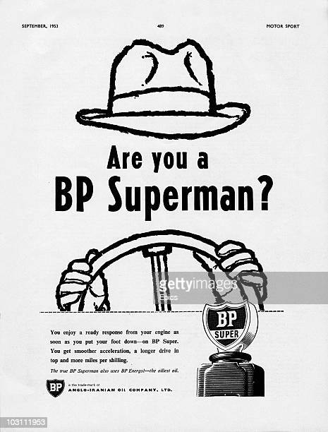 An advertisement for BP Super petrol September 1953 The caption reads 'Are you a BP superman' Published in 'Motor Sport' magazine