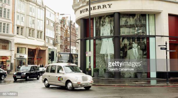 An advertisement for Burberry featuring the face of the campaign Kate Moss is displayed in Knightsbridge on September 19 2005 in London England...