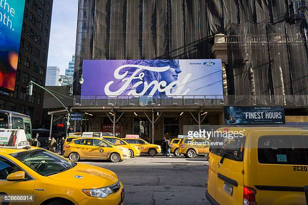 An advertisement for Ford on the side of the under renovation Hotel Pennsylvania in New York on Thursday January 28 2016 The Ford Motor Co reported a...