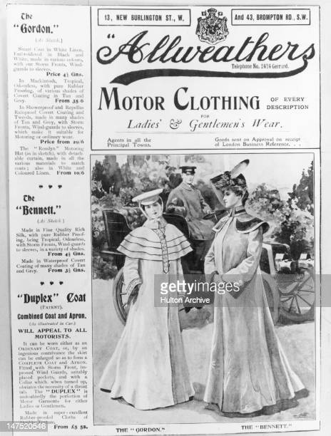 An advertisement for fulllength motoring coats sold by London outfitters Allweathers circa 1910 The illustration shows the 'Gordon' coat in white...