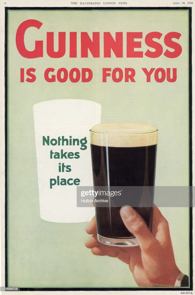 An advertisement for Guinness with the slogans 'Guinness is good for you' and 'Nothing takes its place' Original Publication Illustrated London News...