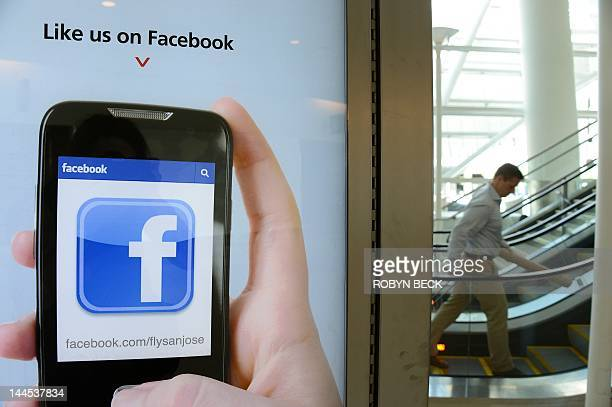 An advertisement for San Jose International Airport suggests to users to 'like' the airport's Facebook page at the airport in San Jose California May...