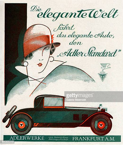 An advertisement for the Adler Standard coupe made by the Adler company of Frankfurt Germany circa 1925