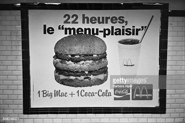 An advertisement for the McDonalds 'MenuPlaisir' on the Paris Métro July 1980 The menu includes one Big Mac and one CocaCola