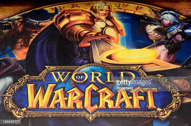 An advertisement for the ''World of Warcraft'' game produced by Activision Blizzard Inc a videogame publishing unit of Vivendi SA is displayed at a...