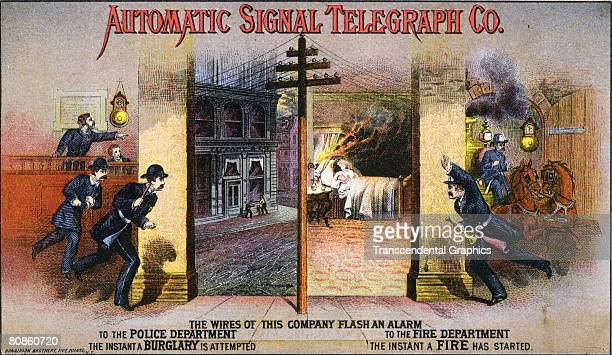 An advertisement illustration for the Automatic Signal Telegraph Company promoting home security using telegraph communication shows two scenes one...