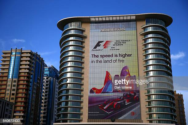 An advertisement on the side of a building for the Grand Prix during previews ahead of the European Formula One Grand Prix at Baku City Circuit on...