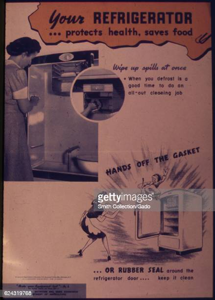 An advertisement poster during World War II depicting two women in aprons and dresses by their refrigerators emphasizing these appliances' ability to...