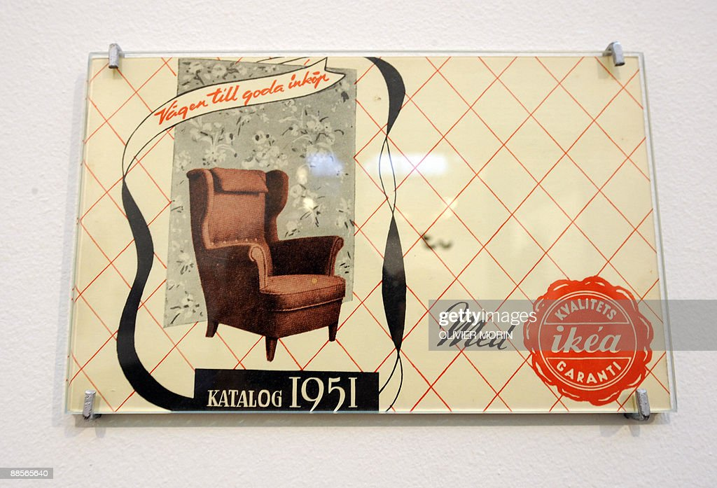 An advertising displaying a page of Swedish furniture designer Ikea's catalog in 1951 hangs of the wall of in a contemporary modern art museum in...