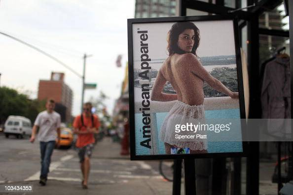 An advertisment for an American Apparel retail store is displayed on August 18 2010 in New York City Shares of American Apparel have fallen 67...