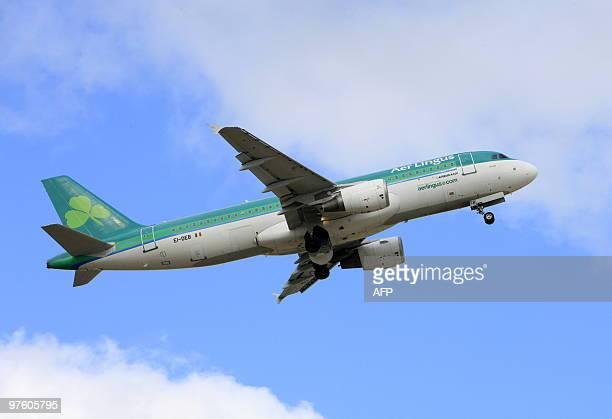 An Aer Lingus Airbus aircraft takes off from Dublin Airport in Ireland on March 10 2010 Irish airline Aer Lingus forecast on Tuesday that its losses...