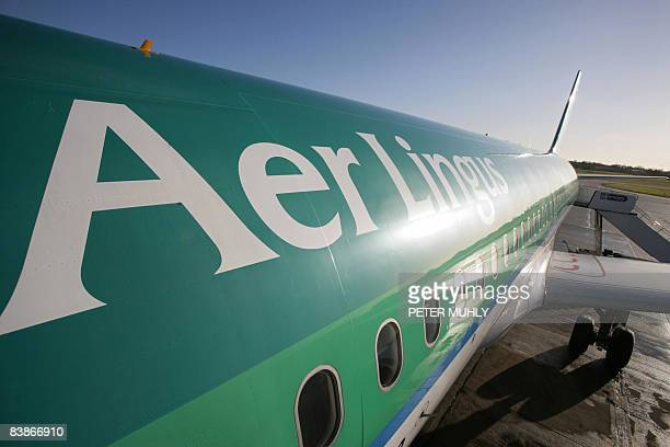 An Aer Lingus aircraft is pictured on the apron at Belfast International Airport in Belfast Northern Ireland on December 1 2008 Ryanair Europe's...