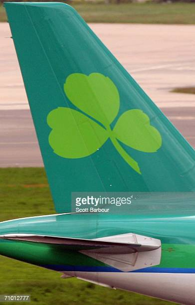 An Aer Lingus aircraft taxis down the runway at London Heathrow Airport on May 18 2006 in London England Heathrow consists of four passenger...