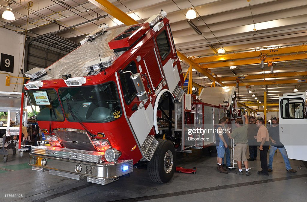 An aerial fire truck nears completion at the E-ONE Inc. factory, on Tuesday, Aug. 20, 2013, in Ocala, Florida, U.S. The U.S. Census Bureau is scheduled to release durable goods figures on Aug. 26. Photographer: Mark Elias/Bloomberg via Getty Images