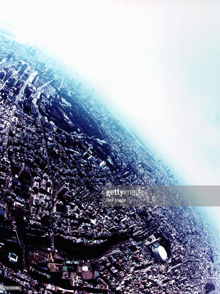 An aerial fisheye lens view of Chiyoda-ku, Tokyo, Japan : Stock Photo
