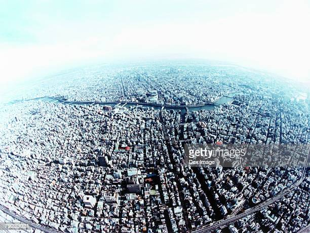 An aerial fisheye lens view of Taito-ku, Tokyo, Japan