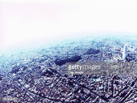 An aerial fisheye lens view of Toshima-ku, Tokyo, Japan : Stock Photo