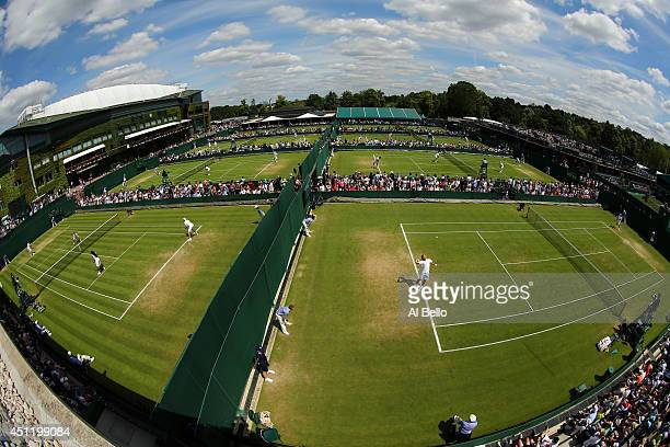 An aerial General view of the play on the outside courts on day three of the Wimbledon Lawn Tennis Championships at the All England Lawn Tennis and...