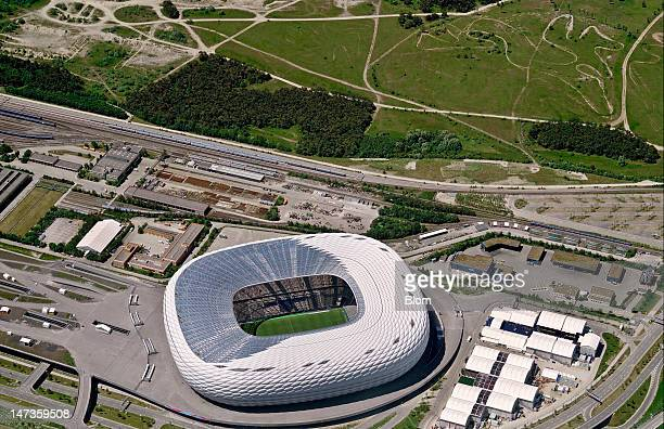An aerial image of Allianz Arena Munich