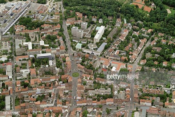 An aerial image of City Center Erlangen