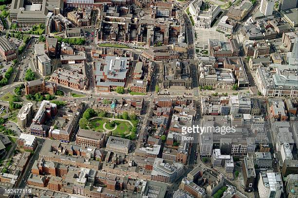 An aerial image of City Center Leeds