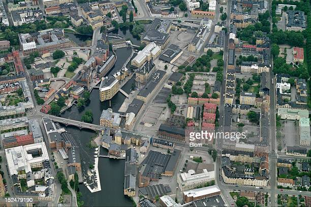 An aerial image of City Center Norrkoeping
