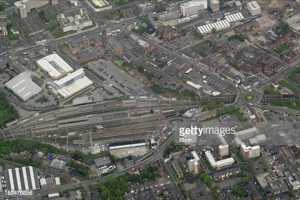 An aerial image of City Center Stockport