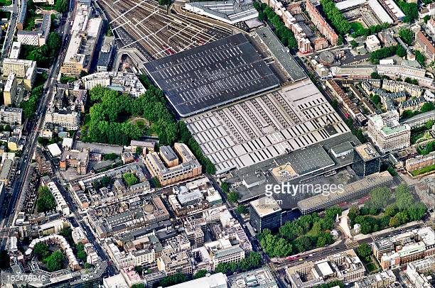 An aerial image of Euston Station London