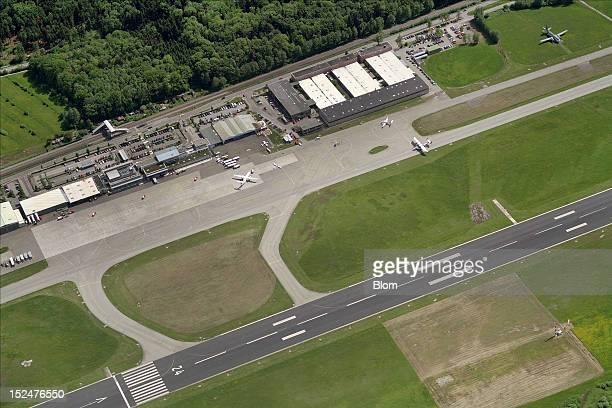 An aerial image of Friedrichshafen Airport Friedrichshafen