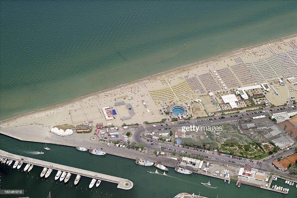 An aerial image of Lungomare Claudio Tintori Rimini