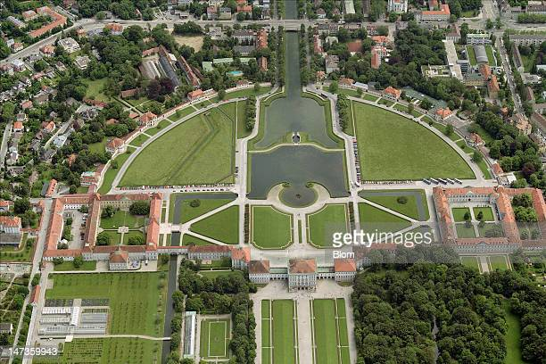 An aerial image of Nymphenburg Palace München