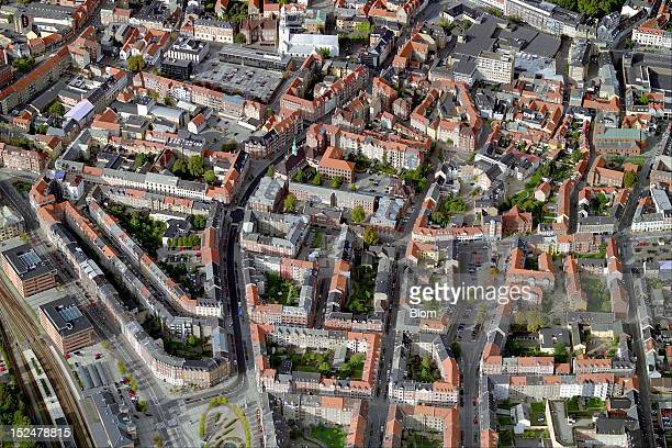 An aerial image of Old Town Aalborg
