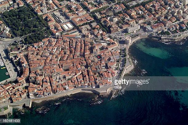 An aerial image of Old Town Alghero