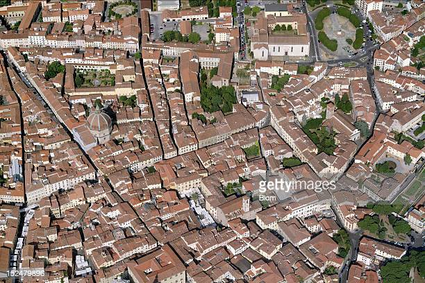 An aerial image of Old Town Pistoia