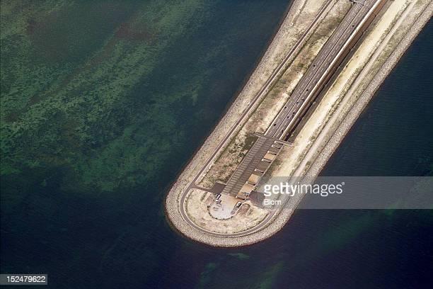 An aerial image of Oresund Bridge Tunnel exit In Peberholm Copenhagen