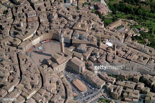 An aerial image of Piazza del Campo Siena