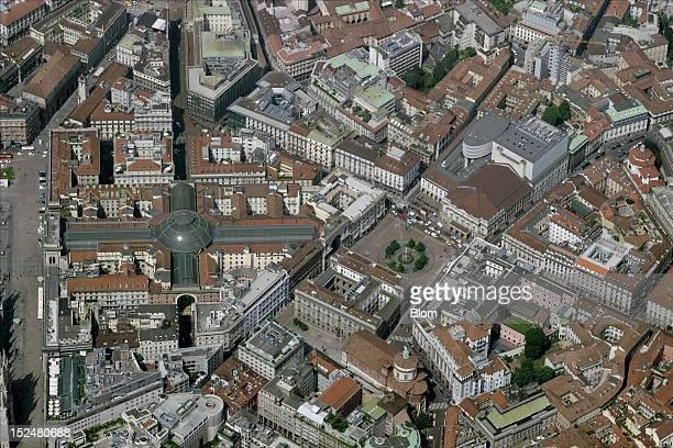 An aerial image of Piazza della Scala Milan