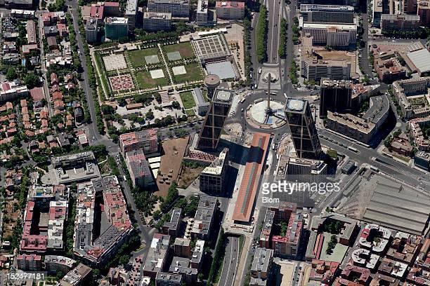 An aerial image of Plaza De Castilla Madrid