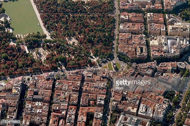 An aerial image of Puerta De Alcala Madrid