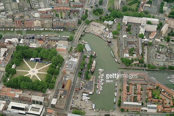 An aerial image of Queen Square Bristol