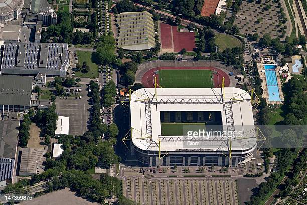 An aerial image of Westfalenstadion Signal Iduna Park Dortmund