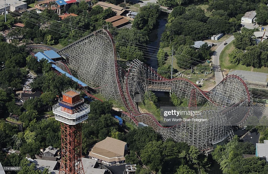 An aerial photo of the Texas Giant is shown, a day after a woman fell to her death from the roller coaster at Six Flags Over Texas in Arlington, Texas, Saturday, July 20, 2013.
