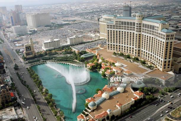 An aerial photo shows the Bellagio October 19 2005 in Las Vegas Nevada
