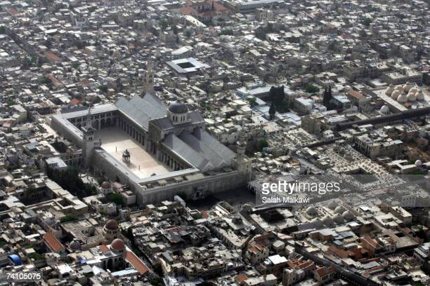 An aerial photo shows the Omayyad Mosque and the old city taken on May 07 2007 over the city of Damascus Syria