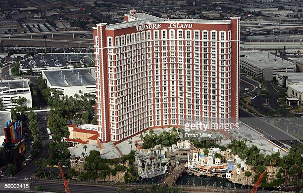 An aerial photo shows the Treasure Island Hotel Casino October 19 2005 in Las Vegas Nevada