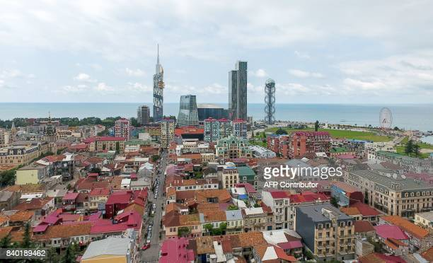 An aerial photo taken on August 27 2017 shows the Black Sea resort city of Batumi / AFP PHOTO / Vano Shlamov