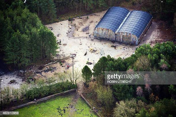 An aerial photo taken on January 4 2014 shows the ground of the new reality show created by John de Mol 'Utopia' in Laren The features a group of...