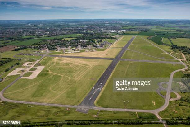 An aerial photograph of Abingdon Airfield on May 22 2017 in Abingdon England