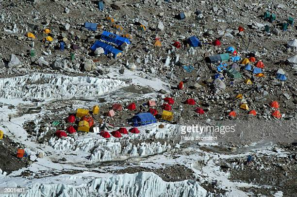 An aerial photograph of Everest Base camp a large tent city full of climbers at 18000 ft May 15 2003 which sits at the foot of Mount Everest on the...